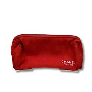 Chanel Small Red Leather Make up Bag